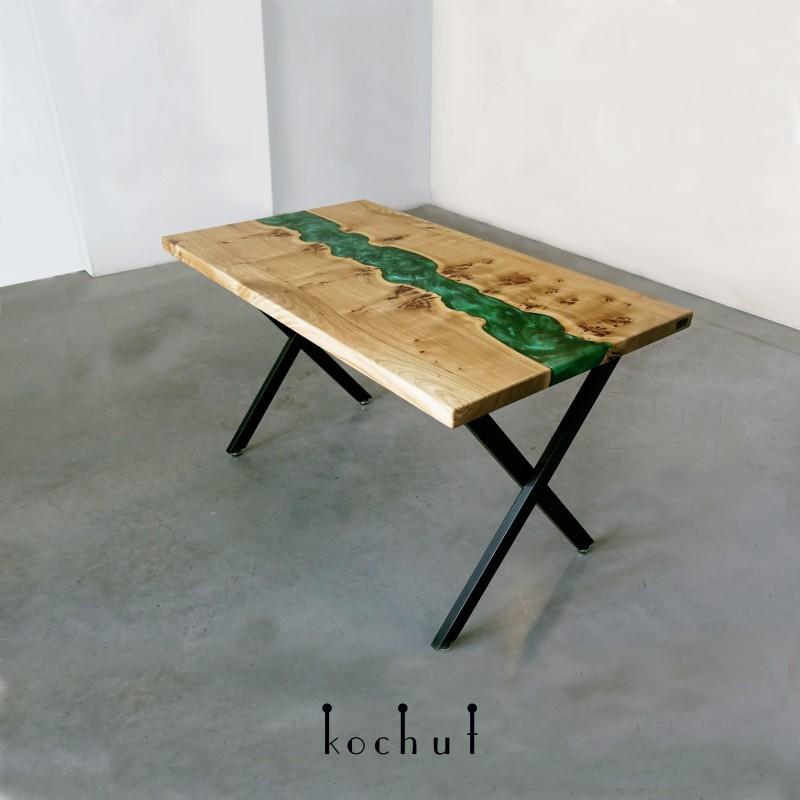 Обеденный стол «Аспарагус». Вяз, эпоксидная заливка, полиуретан