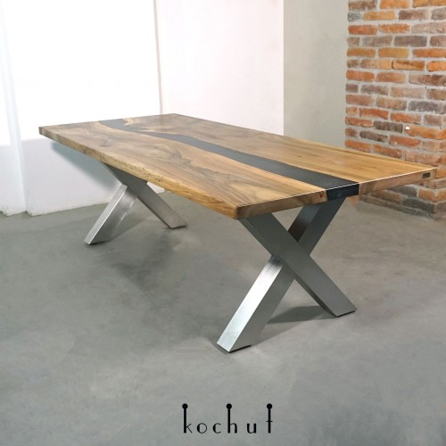 Dining table «Basaltic». Walnut, epoxy resin, polyurethane.