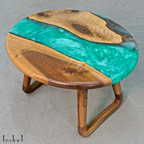 Side table «Menthol». European walnut, epoxy resin, polyurethane