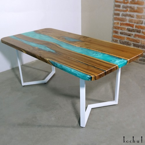 Dining table «Celestial blue». European walnut, epoxy resin, polyurethane