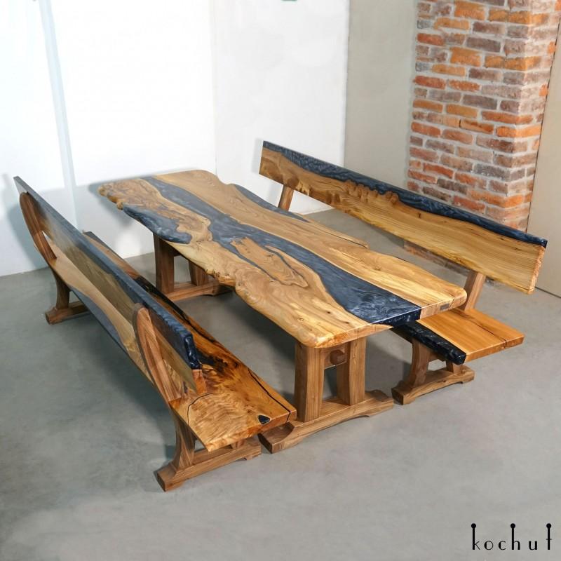 Set «Sit». Elm, epoxy resin, polyurethane
