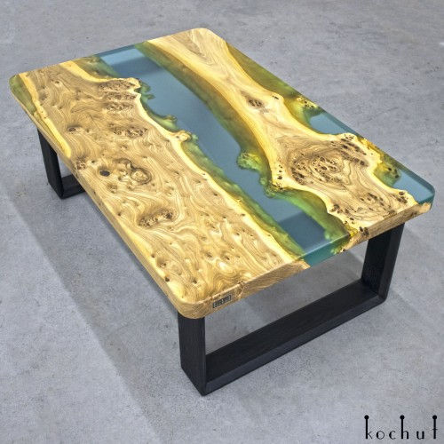 Side table «Damascus». Elm, epoxy resin, polyurethane