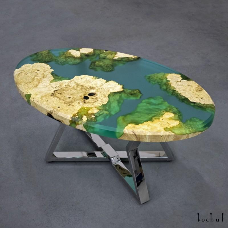 Журнальный стол «Санторини». Клен, эпоксидная смола, полиуретан