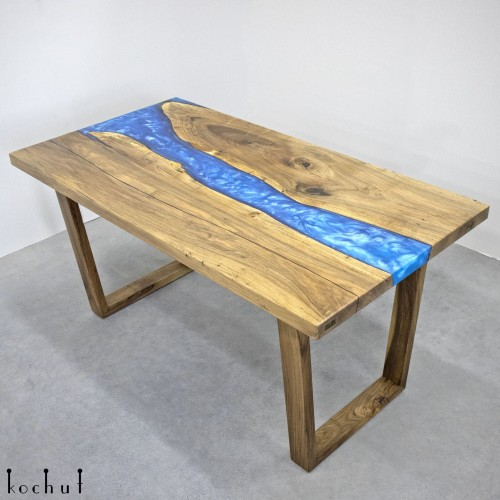 Dining table «Iolite». European walnut, epoxy resin, polyurethane