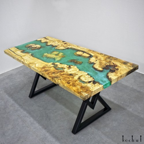 Dining table «Okavango». Maple, epoxy resin, polyurethane