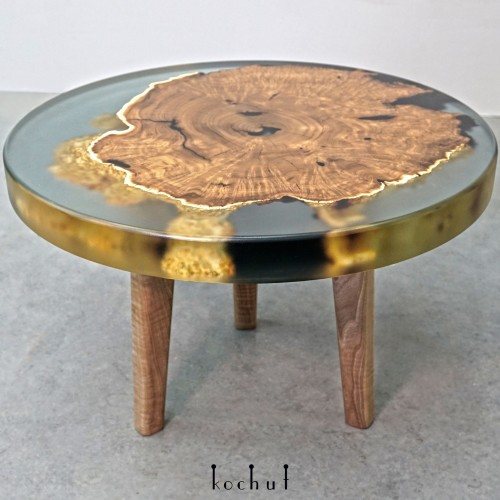 Side table «Ithaca». Wild olive, epoxy resin, polyurethane