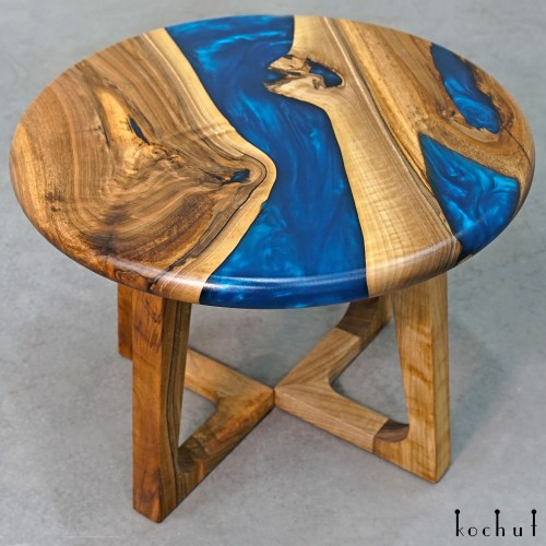 Side table «Sapphire». European walnut, epoxy resin, polyurethane