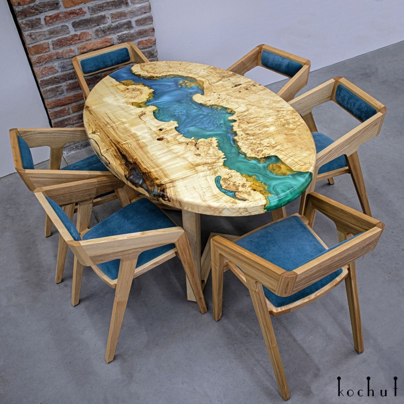 Dining table «Okavango». Maple, epoxy resin, polyurethane