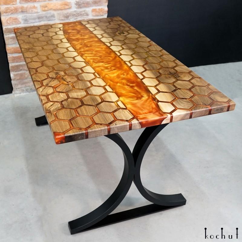 Dining table «Honeycombs». European walnut, epoxy resin, polyurethane