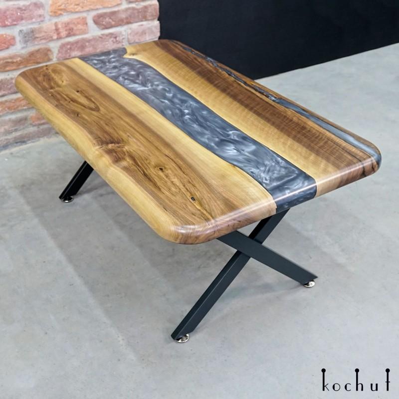 Side table «Morion». European walnut, epoxy resin, polyurethane