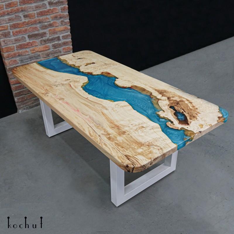Dining table «Larimar». Maple, epoxy resin, oil-wax