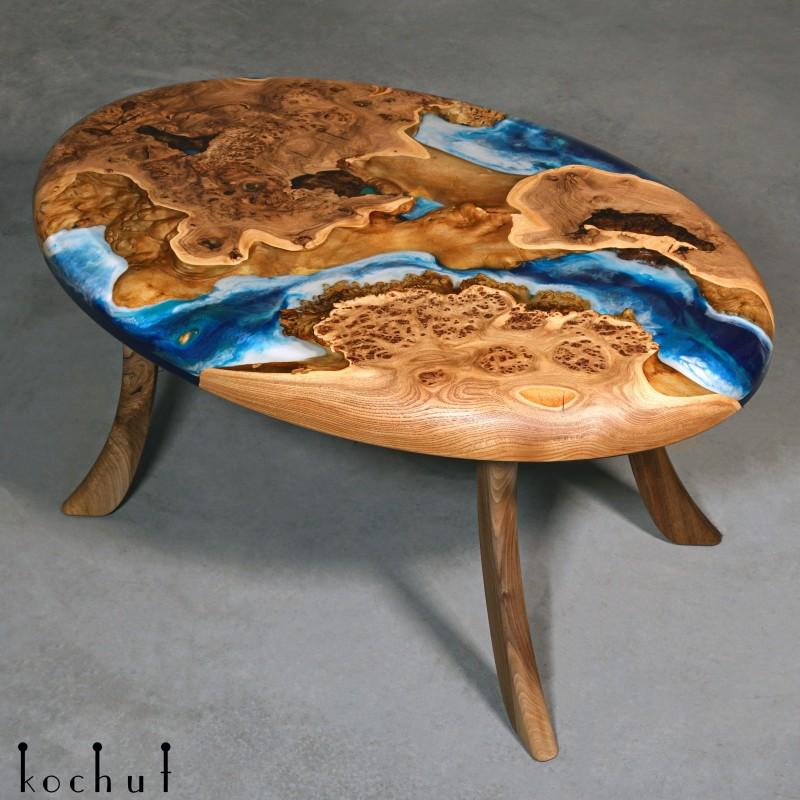 Side table «Atlantis». Maple, epoxy resin, oil-wax