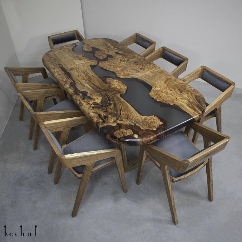 Dining table «Bergen». Elm, epoxy resin, polyurethane