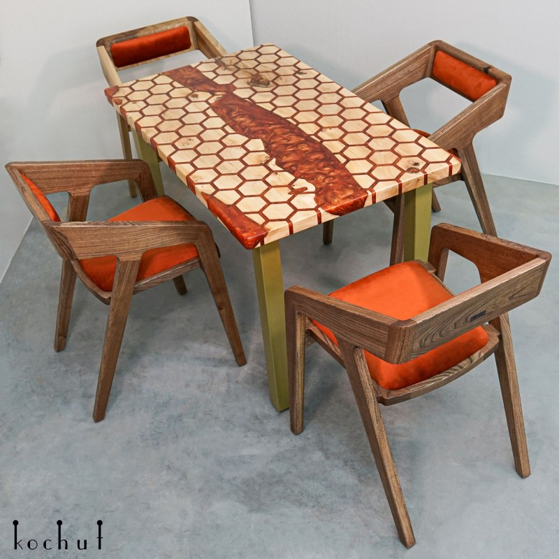Dining table «Honeycombs». Elm, epoxy resin, polyurethane