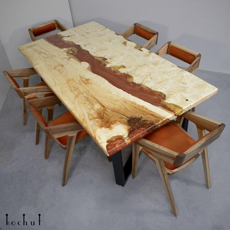 Dining table «Dune». Maple, epoxy resin, polyurethane