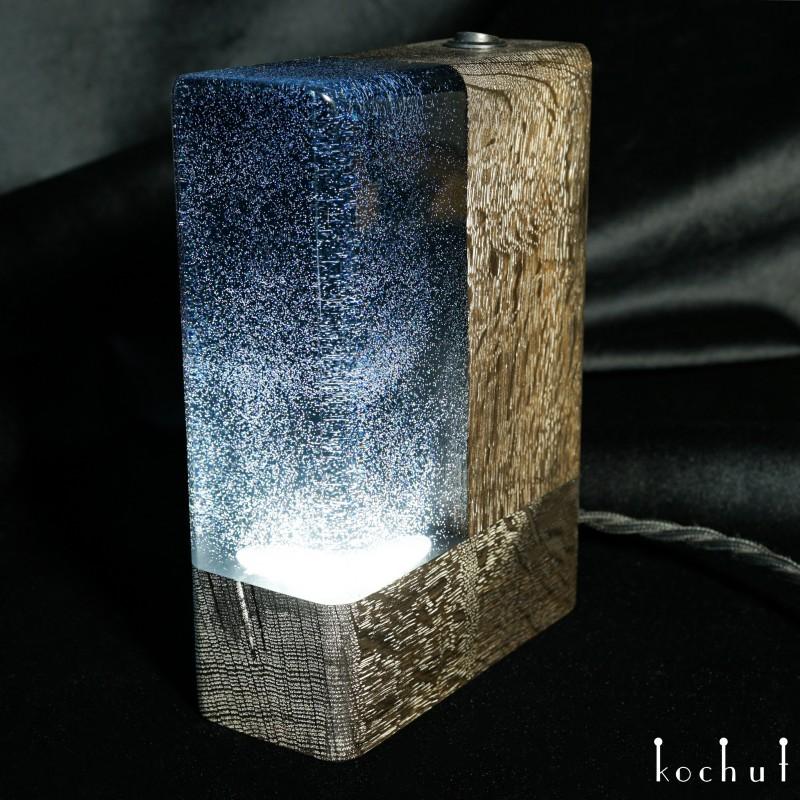 Lamp «Milky Way». Stained oak, epoxy, oil-wax