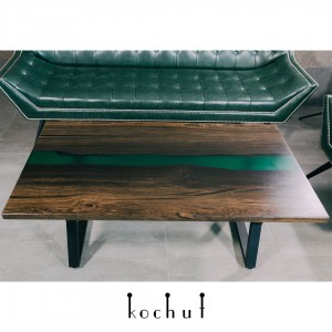 Table «Amazonia». Black stained oak, emerald transparent pouring, metal legs