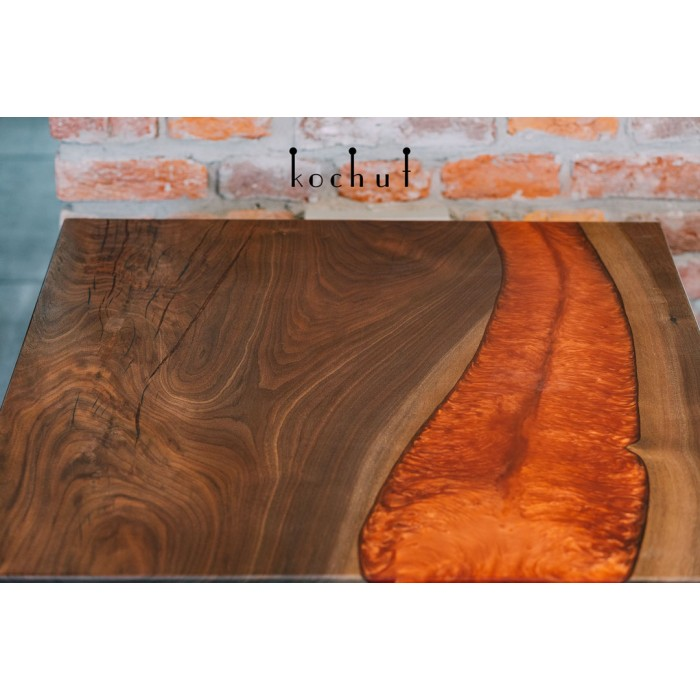 Coffee table «Marsian Chronicles. Expedition on Mars.» American walnut, epoxy resin, natural oil, wax