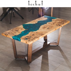 Magazine table «Moon River». Poplar, blue epoxy resin, wax oil, wooden legs