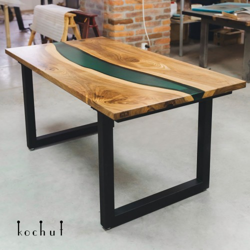 Dining table «Emerald River». Walnut, emerald epoxy resin, oil, metal legs