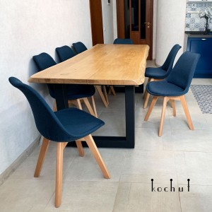 Dining table «Family comfort» (smaller). Oak, natural oil, wax, frosted metal legs