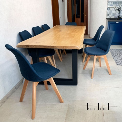 Dining table «Family comfort» (smaller). Oak, natural oil, wax, metal legs