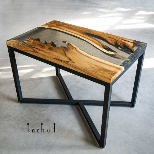 Dining table «Obsidian». European walnut, epoxy resin, oil wax, metal legs