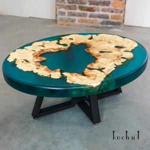 Журнальний стіл «Королівська гавань. Аквамарин». Каліфорнійський клен, епоксидна смола, поліуретан