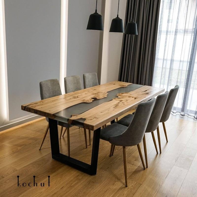 Обеденный стол «Серый кардинал». Вяз, эпоксидная смола