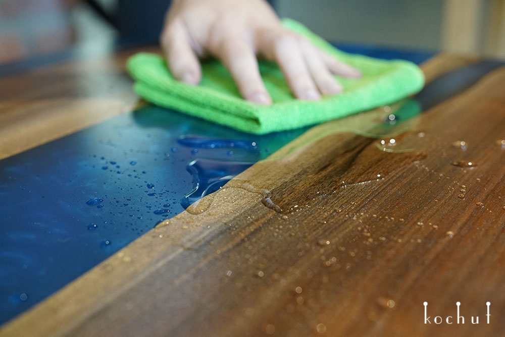 Natural wood and epoxy worktop care